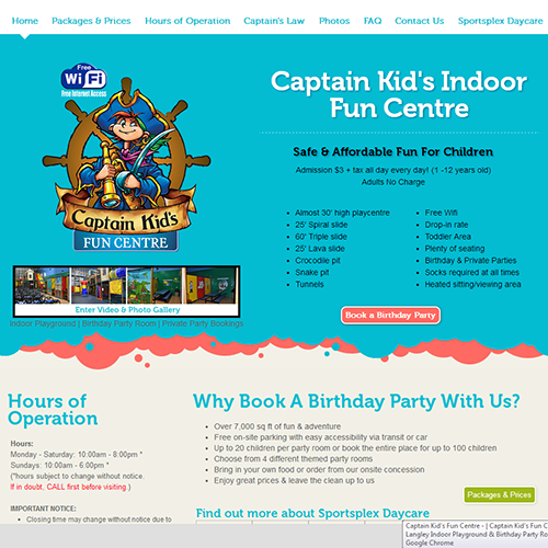 Captain Kid's Fun Centre - Wordpress Vancouver
