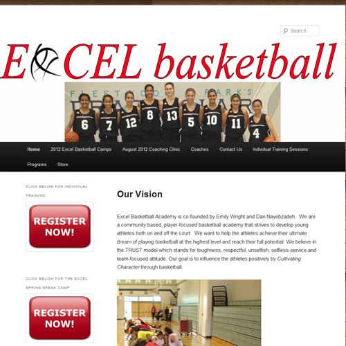 Excel Basketball - Wordpress Vancouver