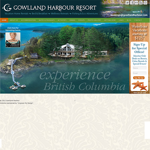 Gowlland Harbour Resort - Wordpress Web Design