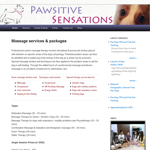 Pawsitive Sensations - Vancouver Web Design